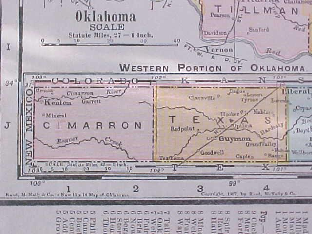 Map Texas & Oklahoma 1907 Rand McNally