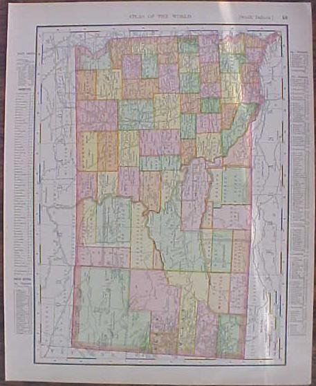 Map North & South Dakota 1907 Rand McNally