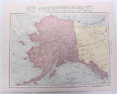 Antique Map Alaska 1916 Nice Details & Colors
