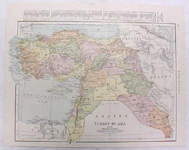 Antique Map Turkey 1916 Nice Details & Colors