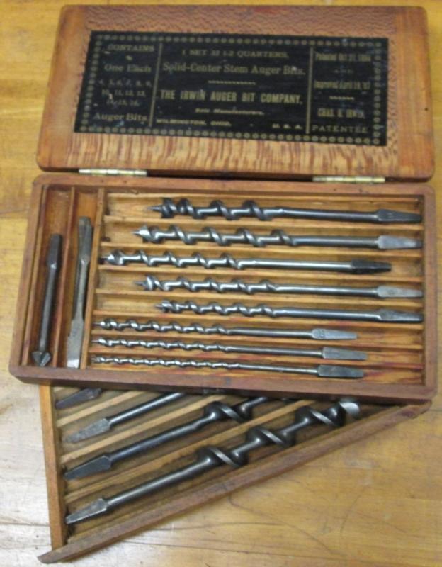 Irwin Auger Bit Set + Chest 13+ Drills 1800's