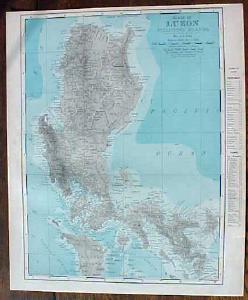 Antique Map Luzon Philippine Islands & Solar System 1901 Colorful