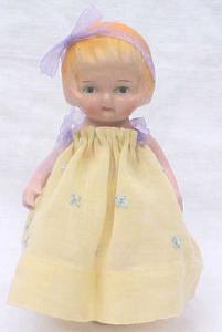 Miniature Bisque Doll Vintage Dress