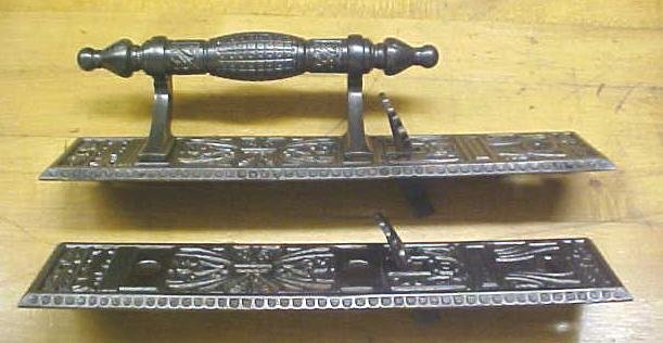 Ornate Door Plate Set Antique Store Handle Cast Iron
