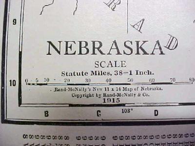 Antique Map Nebraska 1916 Nice Details & Colors