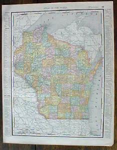 Antique Map Wisconsin Minnesota 1901 Colorful