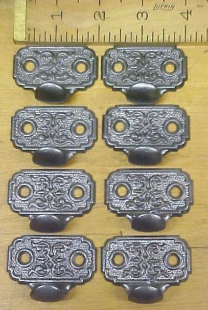Antique Drawer Pulls Cast Iron Ornate Design Set of 8