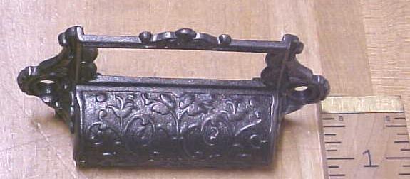Antique Drawer Pulls Ornate Hardware Cast Iron Filing Cabinet
