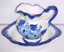 Clinchfield Artware Pitcher & Bowl Blue Hand Painted