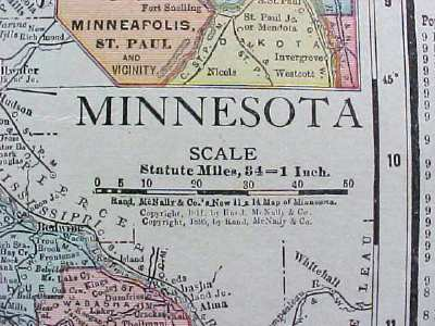 Antique Map Wisconsin Minnesota 1912 Rand McNally