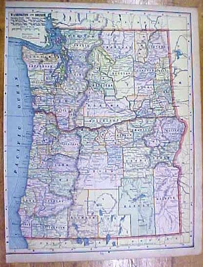 Antique Map Arizona/New Mexico/Washington/Oregon 1902 Crowell