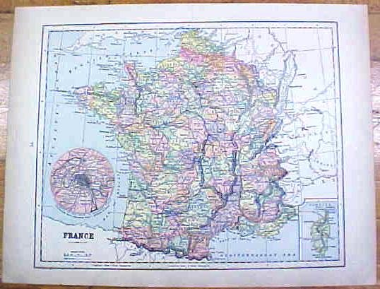 Antique Map France/German Empire 1902 Crowell