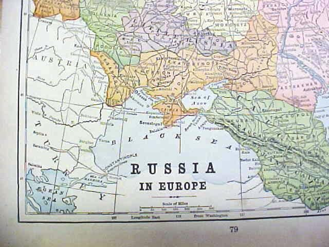 Antique Map Asia/Russia 1902 Crowell
