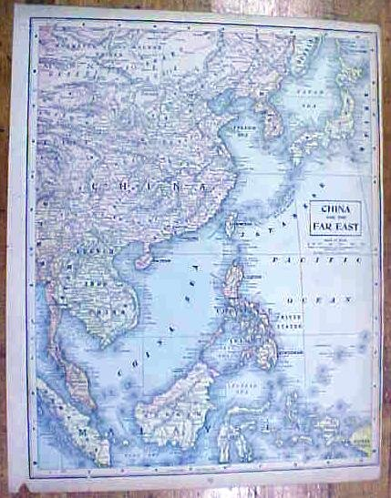 Antique Map China/Africa 1902 Crowell