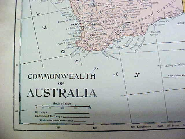 Antique Map South Africa/Australia 1902 Crowell