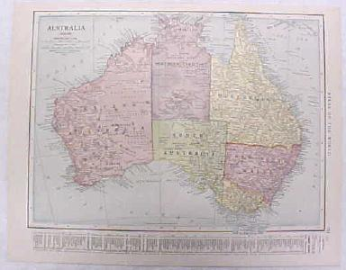 Antique Map Australia 1916 Nice Details & Colors