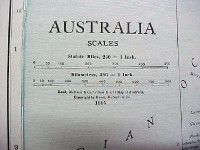 Antique Map Australia 1916 Nice Details & Colors