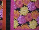 Throw Twin Quilt Dahlias 67 x 80 oranges pinks yellows blacks
