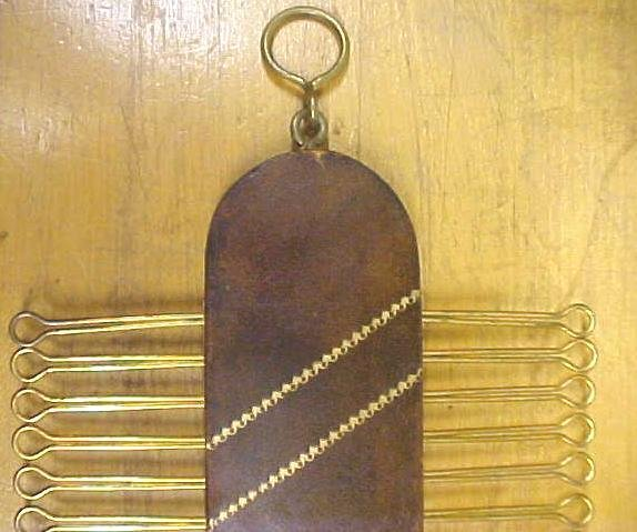 Antique Tie Rack Holder Leather 36 Neck Ties