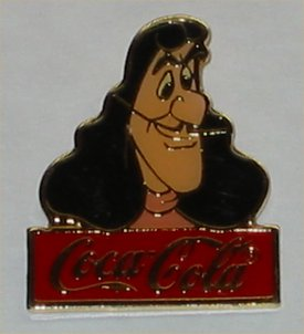 Coca Cola Walt Disney World Captain Hook  Pin - 1986
