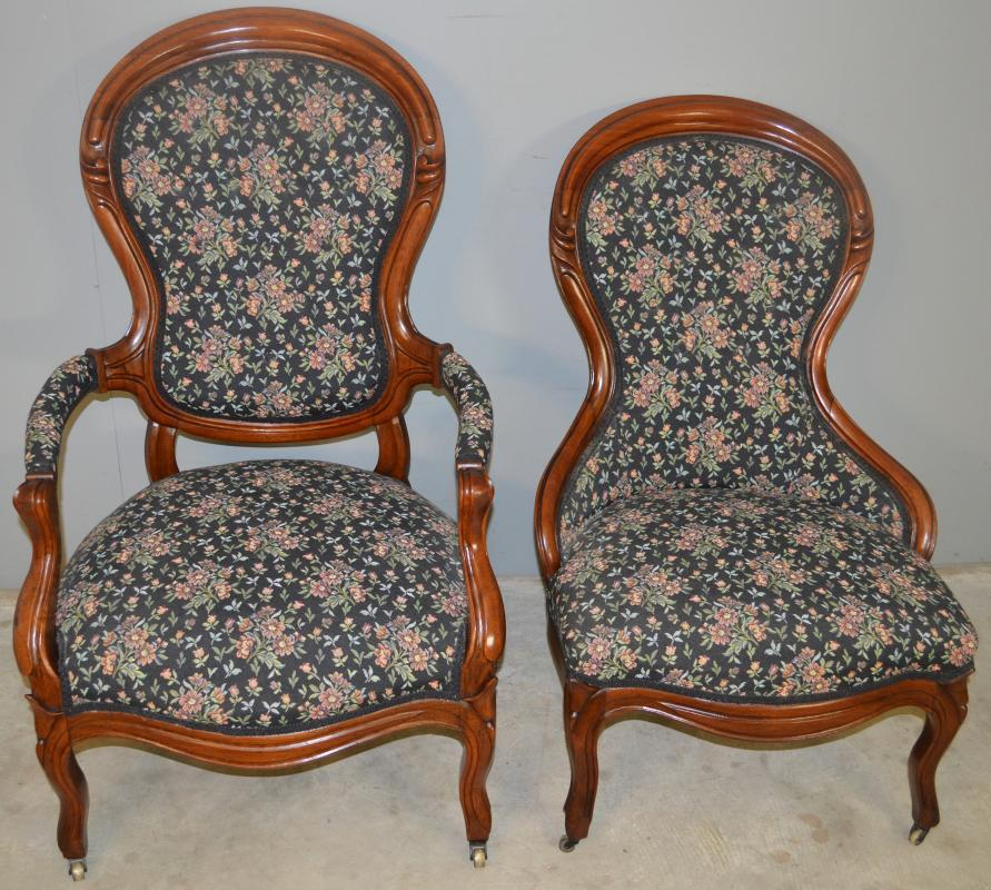 18708 Victorian Gentleman & Ladies Finger Carved Parlor Chairs