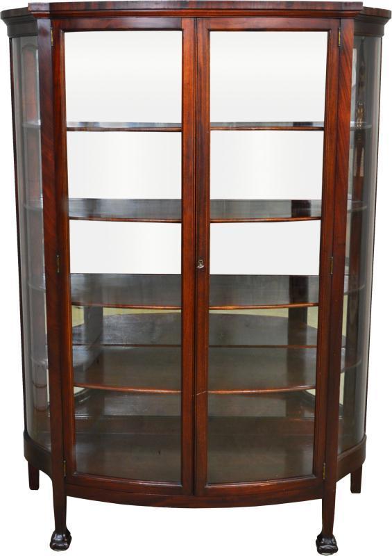 17423 Mahogany Claw Foot China Closet with Serpentine Glass