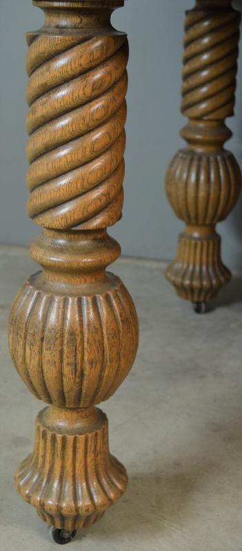 18877 Victorian Oak Barley Twist Dining Table – 2 Leaves