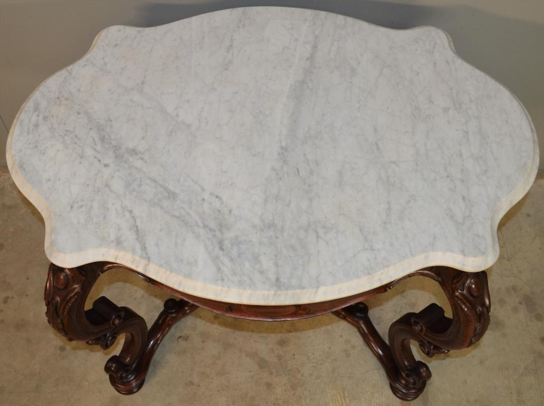 18745 Victorian Rosewood Oversize Marble Parlor Table