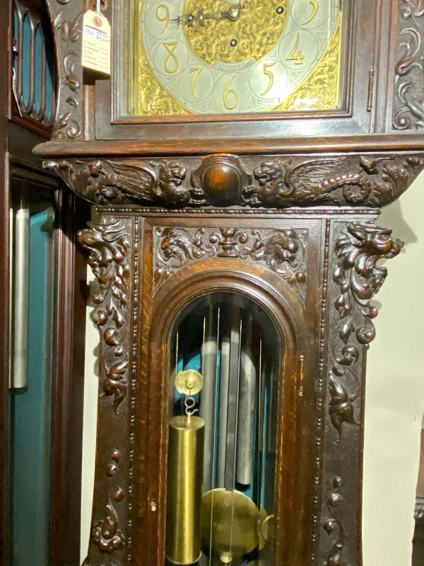 19843 Oak Carved Horner Tiffany-Durfee Grandfather Clock