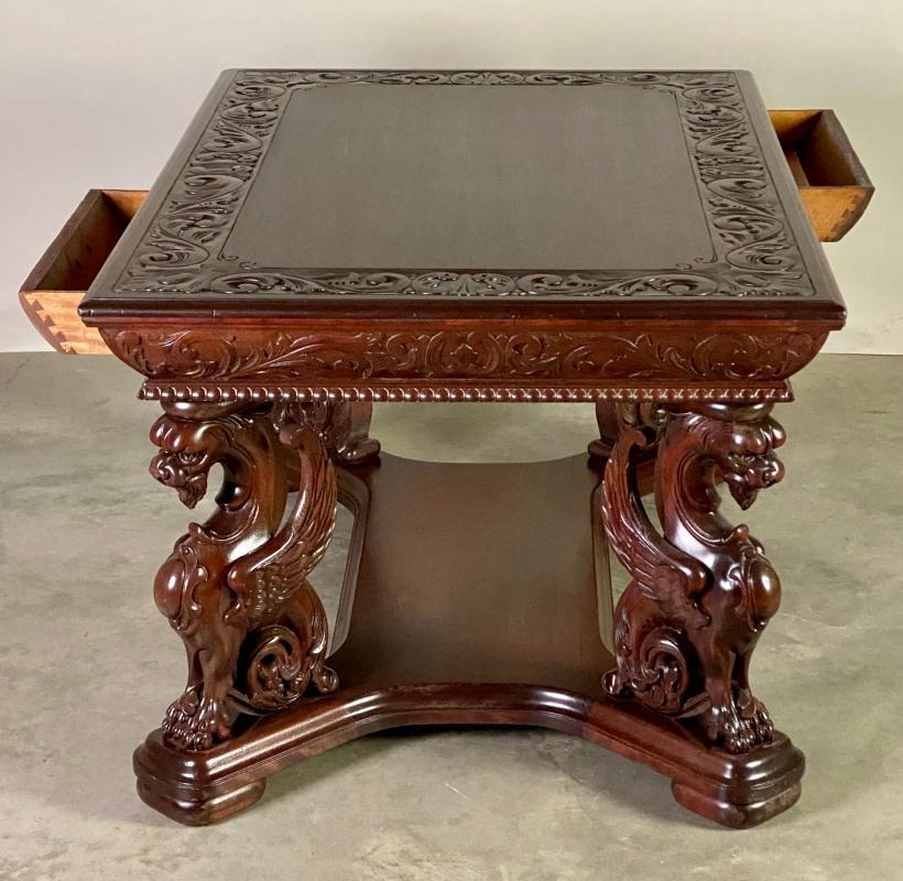 19898 Mahogany Winged Griffin Library Table-Horner