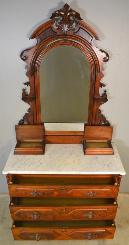 19637 Victorian Burl Walnut Marble Top Bed Set – Jenny Lind