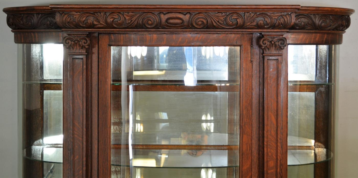 19616 Carved Oak Victorian Large Curved Glass China Closet