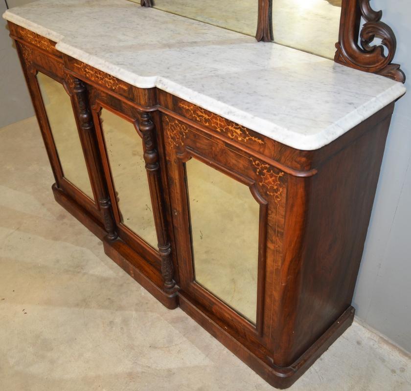 18944 Victorian Burl Walnut Inlaid Marble Top Sideboard