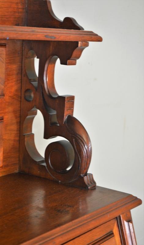 19603 Victorian Burl Walnut Four Oval Panel Secretary