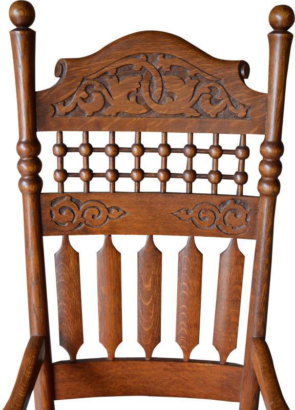 17053 Victorian Oak Carved Stick and Ball Fancy Rocker