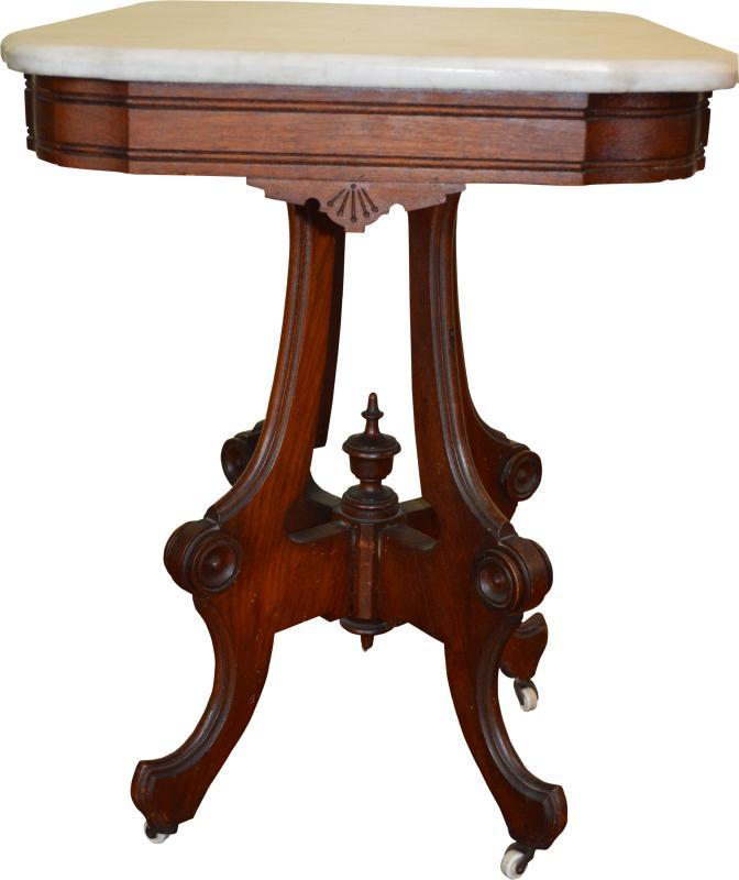 18246 Victorian Marble Top Walnut Parlor Stand