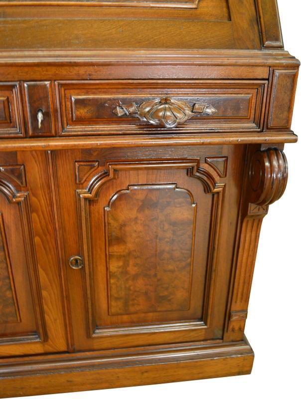 19556 Victorian Burl Walnut Bookcase Desk – Civil War Era