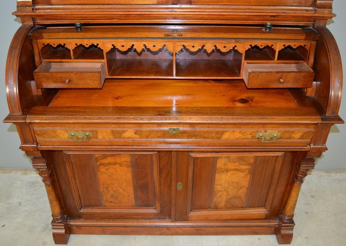 17965 Victorian Burl Walnut Cylinder Secretary Desk with Pillars