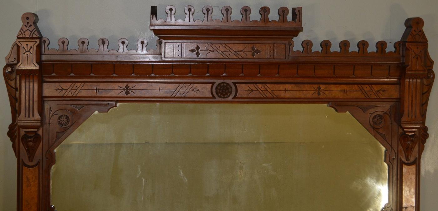 17950 Victorian Burl Walnut Mantle Mirror