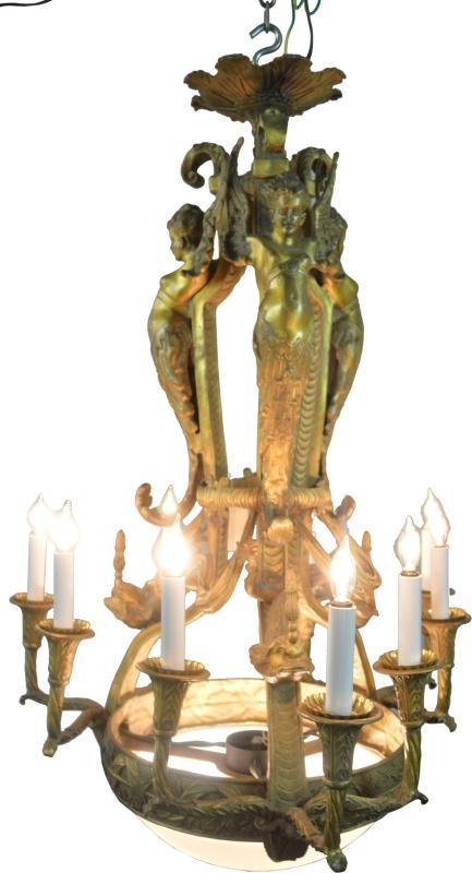 19820 Outstanding Cast Brass Neo-Classical Chandelier