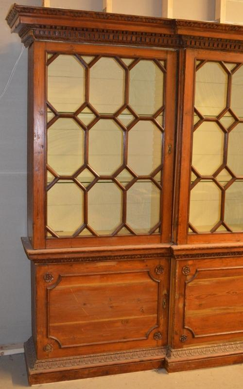 19865 Early George III Carved Pine Breakfront Bookcase