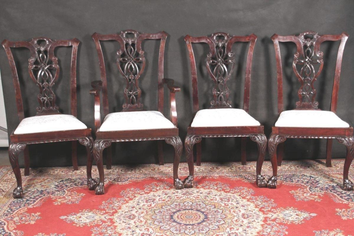 Chippendale Chairs Eight Drop Seat New Brocade Fabric