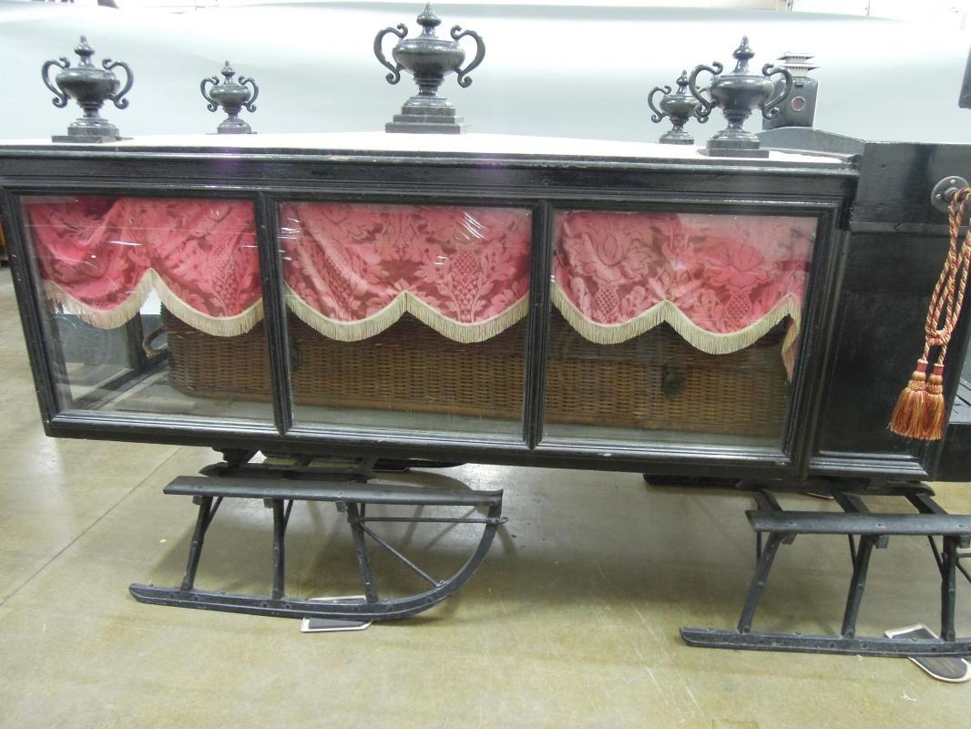 Antique  Horse Drawn  Hearse Sleigh Carriage Rare to find 1880's
