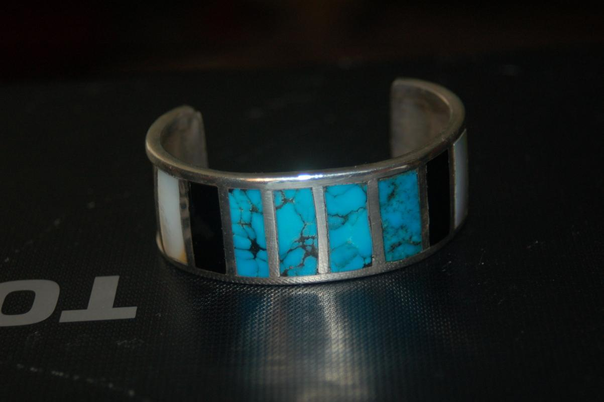 VINTAGE STERLING SILVER CUFF BRACELET WITH TURQOISE & GEMSTONES