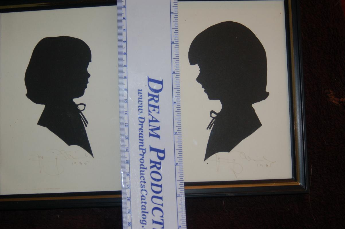 ANTIQUE SILHOUETTES ARTIST SIGNED - PAIR