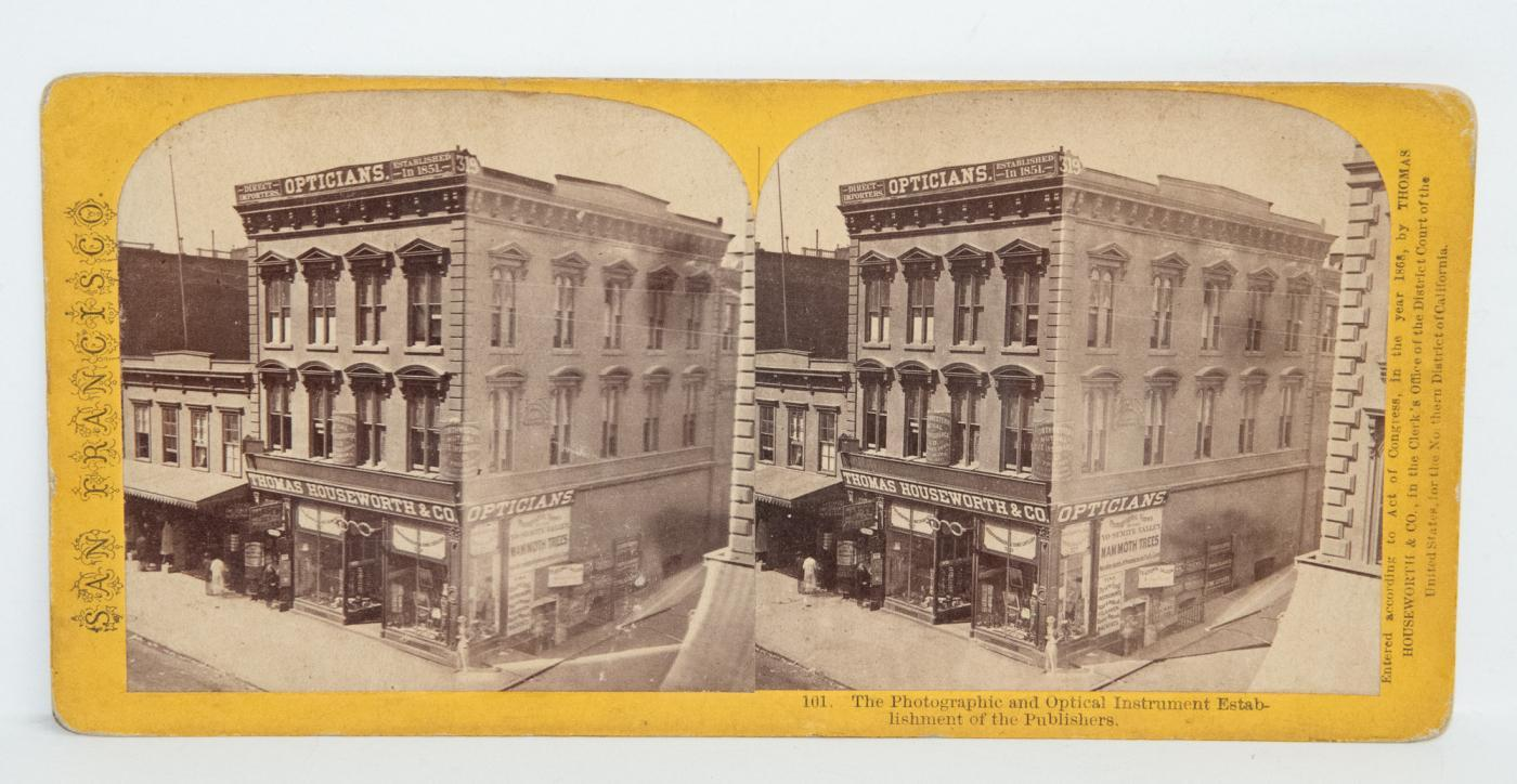 RARE - Stereoview of Photographer Thomas Houseworth's Studio in San Francisco