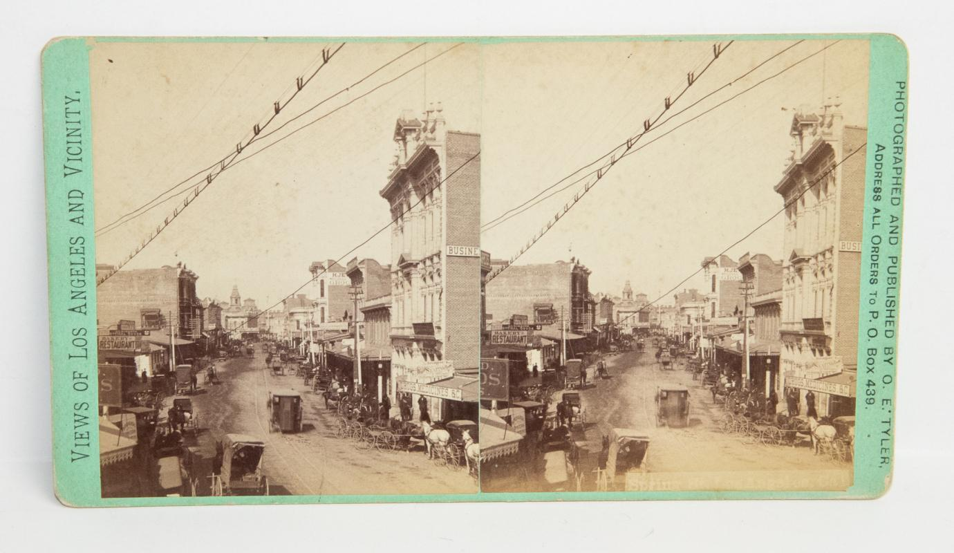 OUTSTANDING EARLY BIRDS-EYE STEREOVIEW OF LOS ANGELES - SPRING ST