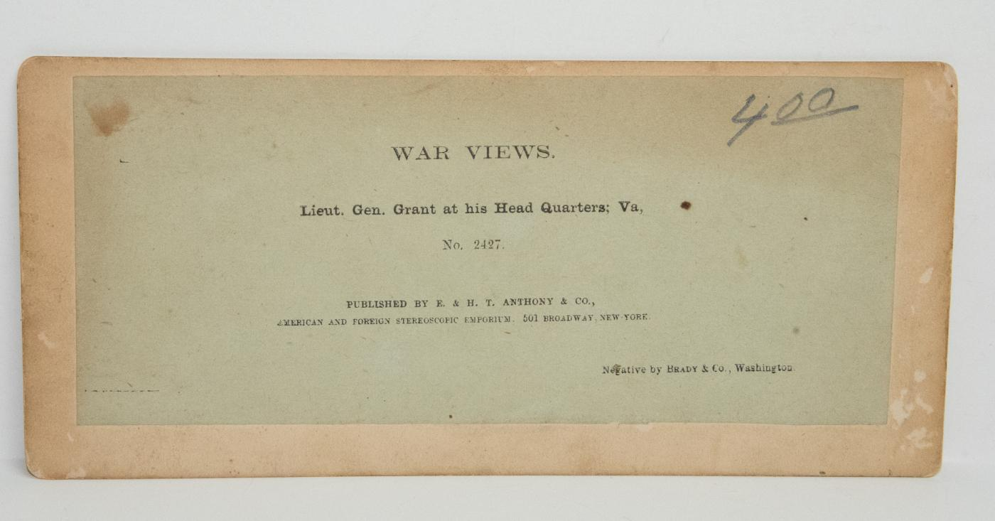 CIVIL WAR STEREOVIEW - GENERAL GRANT AT HEADQUARTERS