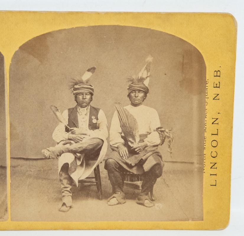 STEREOVIEW of TWO NATIVE AMERICANS - Lincoln Nebraska & Vicinity