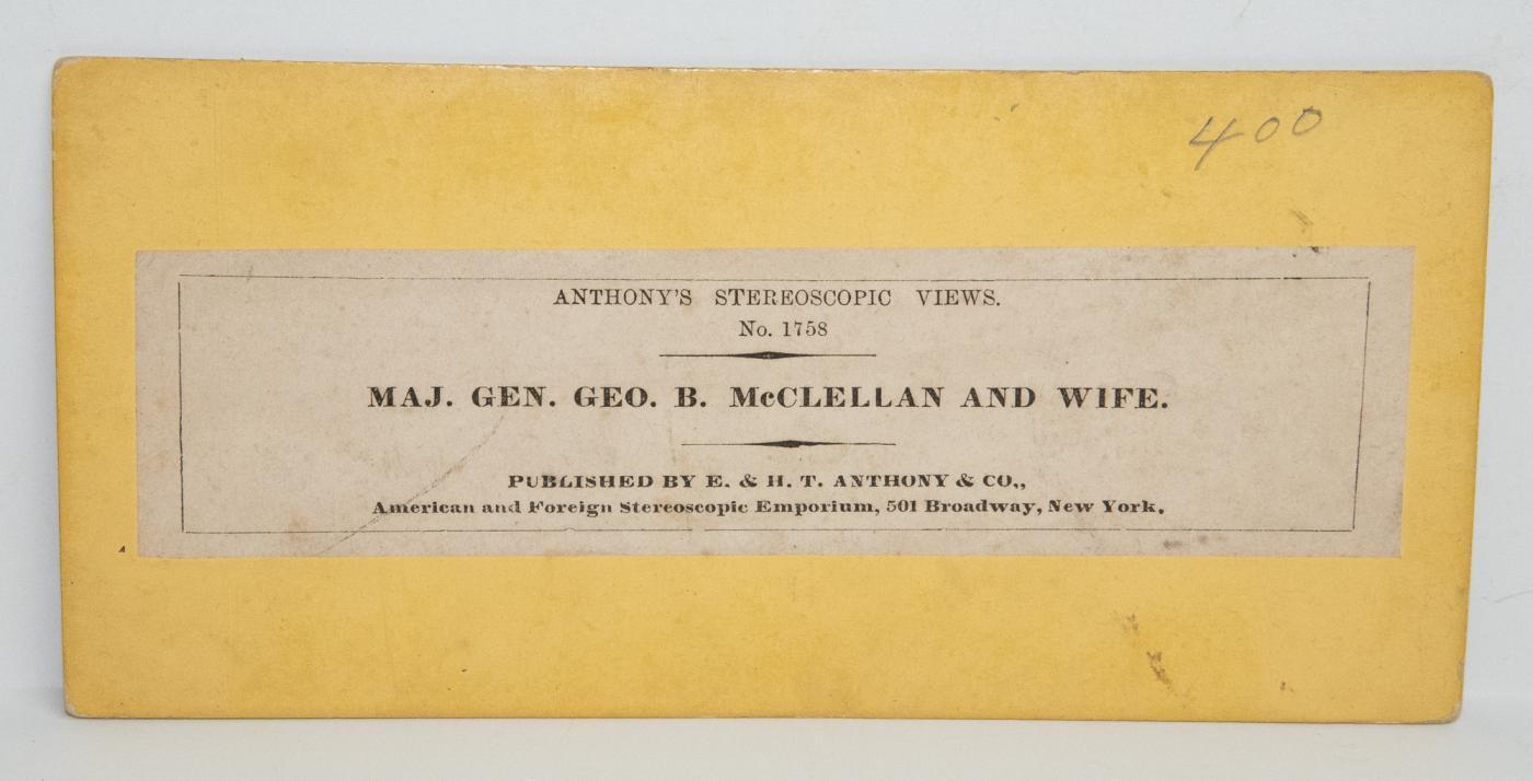 CIVIL WAR STEREOVIEW - GENERAL GEORGE MCCLELLAN AND WIFE